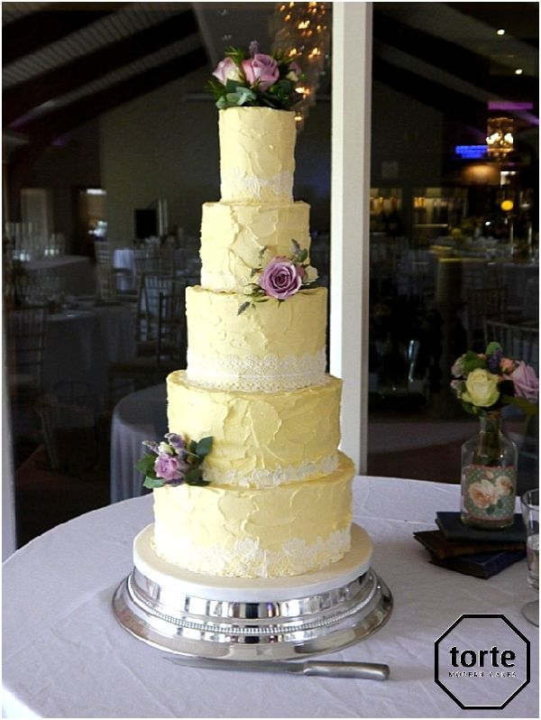 Rustic buttercream wedding cake with sugar lace and fresh flowers ...