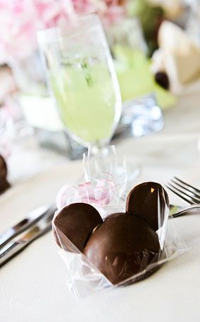 Mickey Mouse shaped chocolate wedding favors? Yes, please!