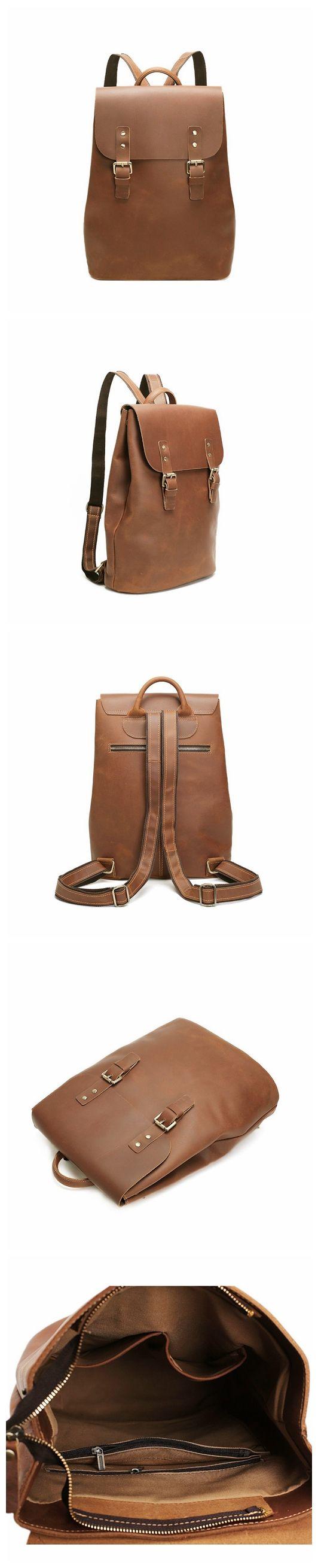 """ROCKCOW Vintage Style Crazy Horse Leather Backpack, Rucksack, Travel Backpack 8645 Model Number: 8645 Dimensions: 13""""L x 5.1""""W x 15.3""""H / 33cm(L) x 13cm(W) x 39cm(H) Weight: 3.9lb / 1.8kg Hardware: Br"""