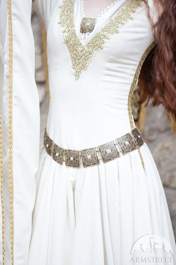 "Women's belt ""The Accolade""; etched brass belt; decorated belt with pearls on Etsy, $184.02 CAD"