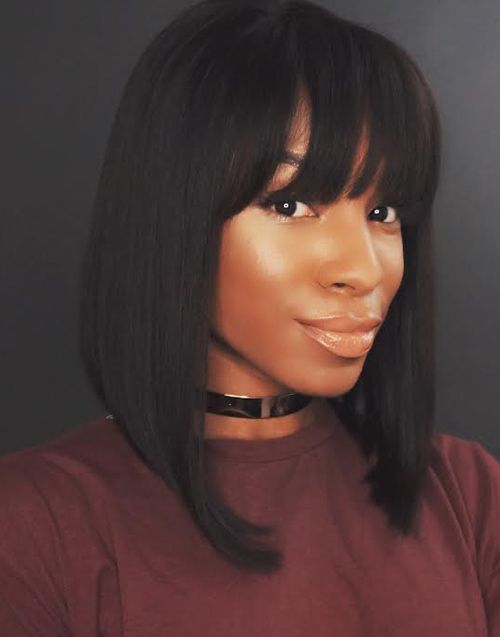 Darlene - Malaysian Human Hair Bob Wigs With Bangs - MFB002
