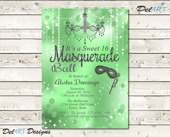Mint Green Sweet 16, Quinceañera, and/or Masquerade Invitation, Birthday Party, Ball, Dance Invite, Digital File, Printable…