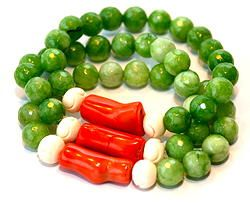 Metro Retro Trio bracelets in green agate, orange coral and bone.   www.the-gem-den.com