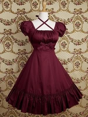 dress/ Red/ short-sleeves/ bows/ ruffles