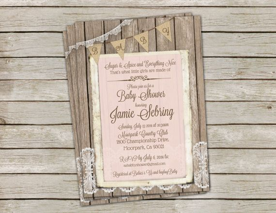 Rustic Baby Girl Shower Invitation Shabby by MissBlissInvitations