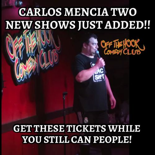 We just added two more shows for Carlos Mencia get your tickets now before these ones are Soldout next! https://video.buffer.com/v/5955a5265f905f3601ff9ef1