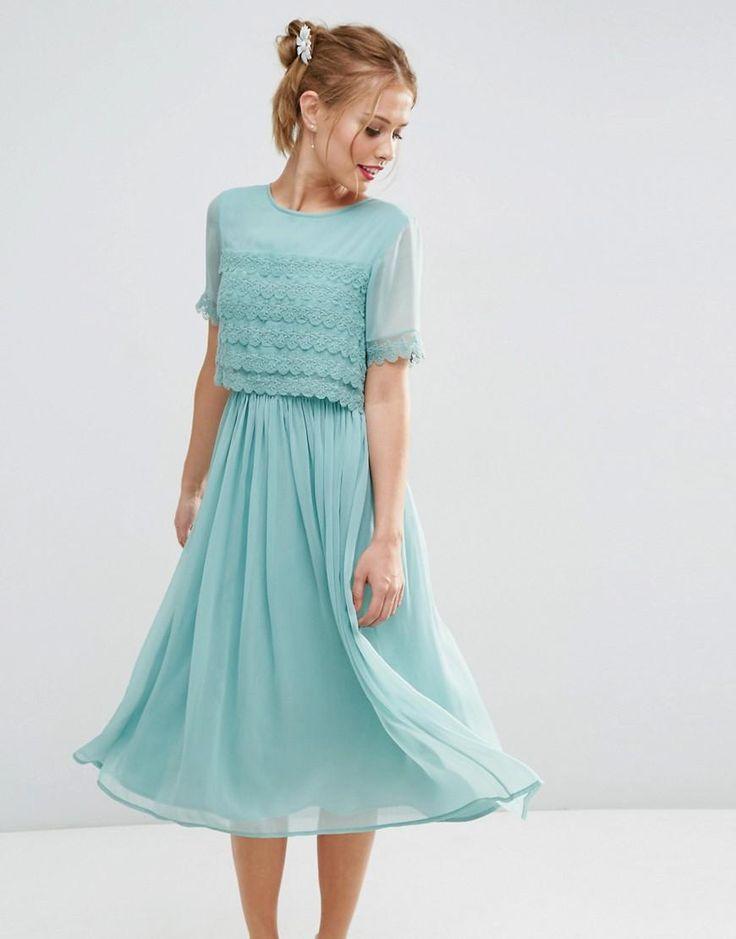 ASOS | ASOS SALON Layer Lace Crop Top Midi Prom Dress