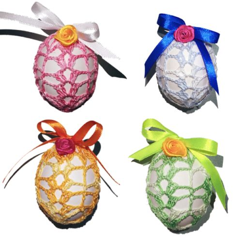 Easter-Egg-Crochet-Cover-Set-of-4-Handmade-Easter-Decoration-With-Satin-Ribbon