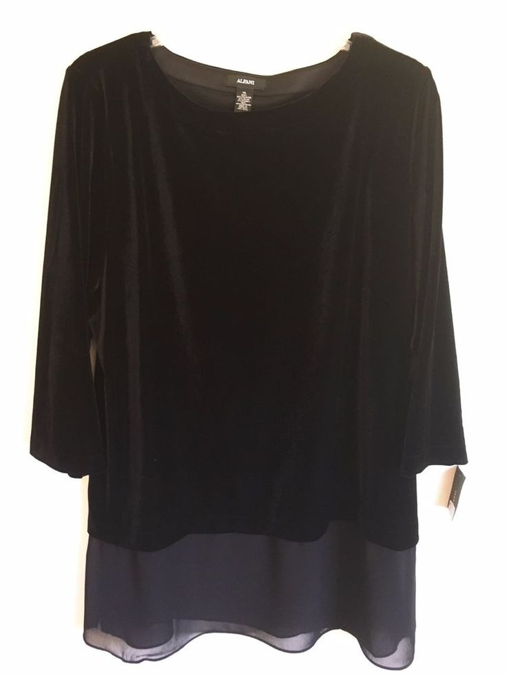 Alfani NEW Black Velvet Top Sheer Chiffon Ruffle Stretch Pull Over XL X-Large #Alfani #Blouse #Career