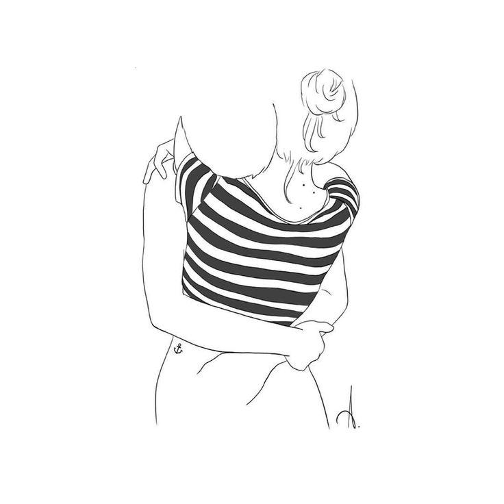 Couple hug love hug illustration minimal drawings cute