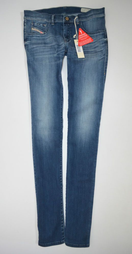new Ladies DIESEL LIVIER 0608l Stretch Skinny JEANS woman size W32 L36 uk 14