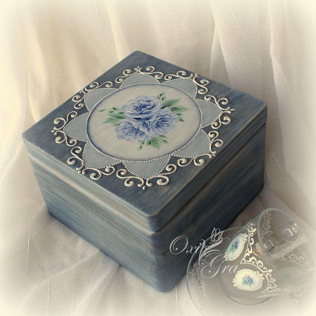 Oksana Grabowska, komplet filiżanka+pudełko, ręcznie malowane  www.polandhande.pl #polandhandmade #ornamentyka #oxigra