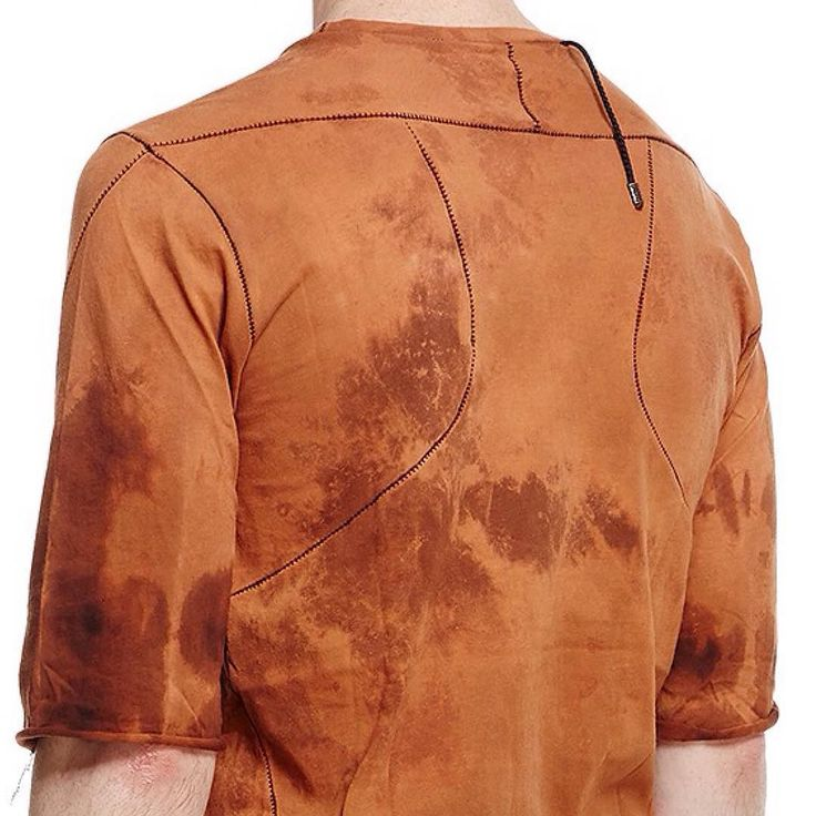 D E T A I L S___ Ergonomic cuts with a double thread comb stitch from @_climbatize_ and finished in a hand dyed rust solution to achieve the distinct colouring. #unconventional #avantgarde #mensfashion #emergingdesigner #limited #luxury #madebyhand #darkwear