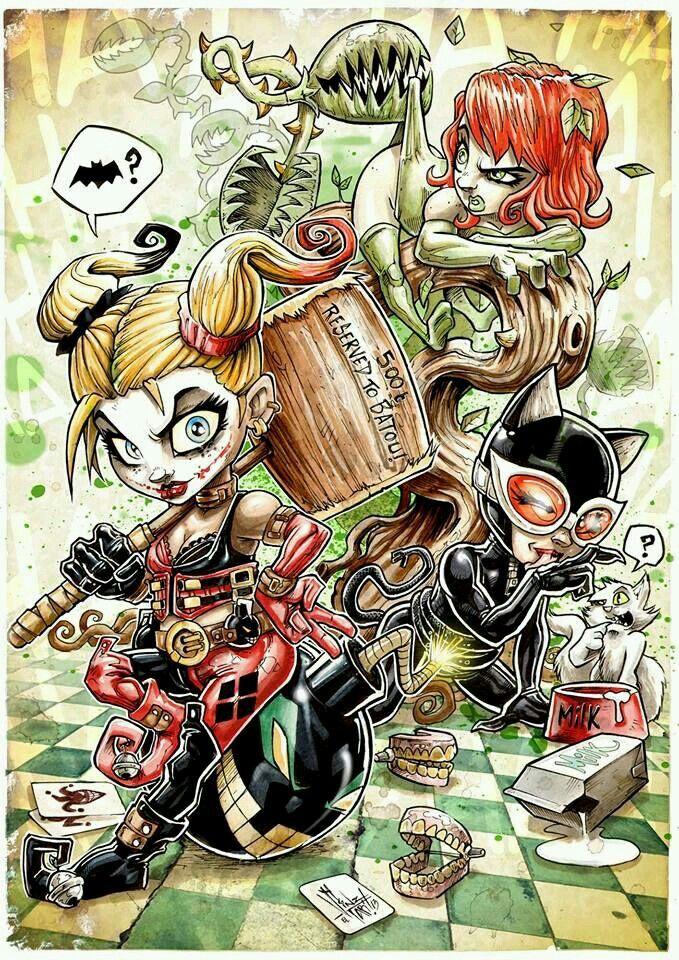 Harley poisen ivy and catwoman