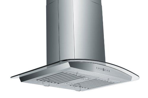 Z Line ZLGL5B36 Stainless Steel and Glass Island Mount Range Hood, 36-Inch 760CFM 4-Speed Motor with Timer/Auto-Shut-Off. High Quality Stainless Steel design. Dishwasher-safe Baffle Filters. Directional Lighting. Measures 36 x 24 x 5.  #Z-Line #MajorAppliances