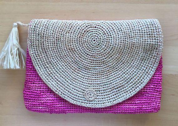 Raffia clutch bag pink handbag hobo market bag straw bag
