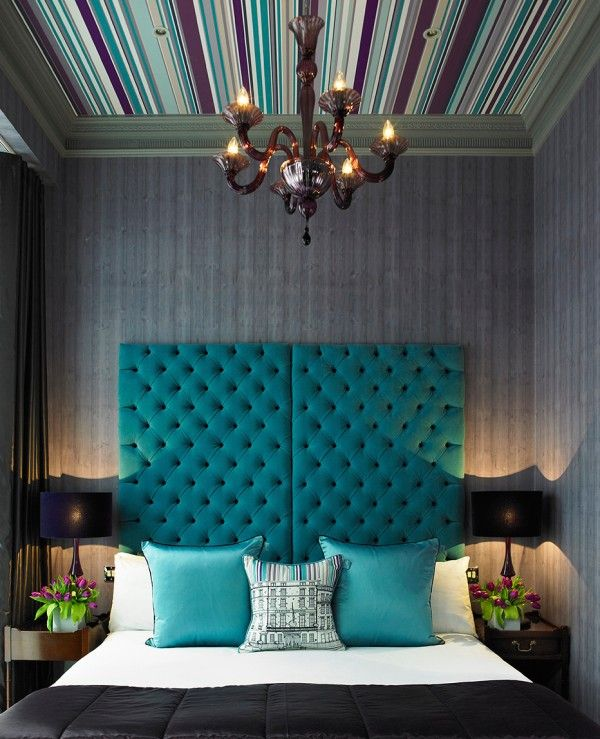 Teal Fabric | Wallpaper Ceiling | Tufted Headboard | Upholstered Furniture | Bedroom Ideas | Home Decor