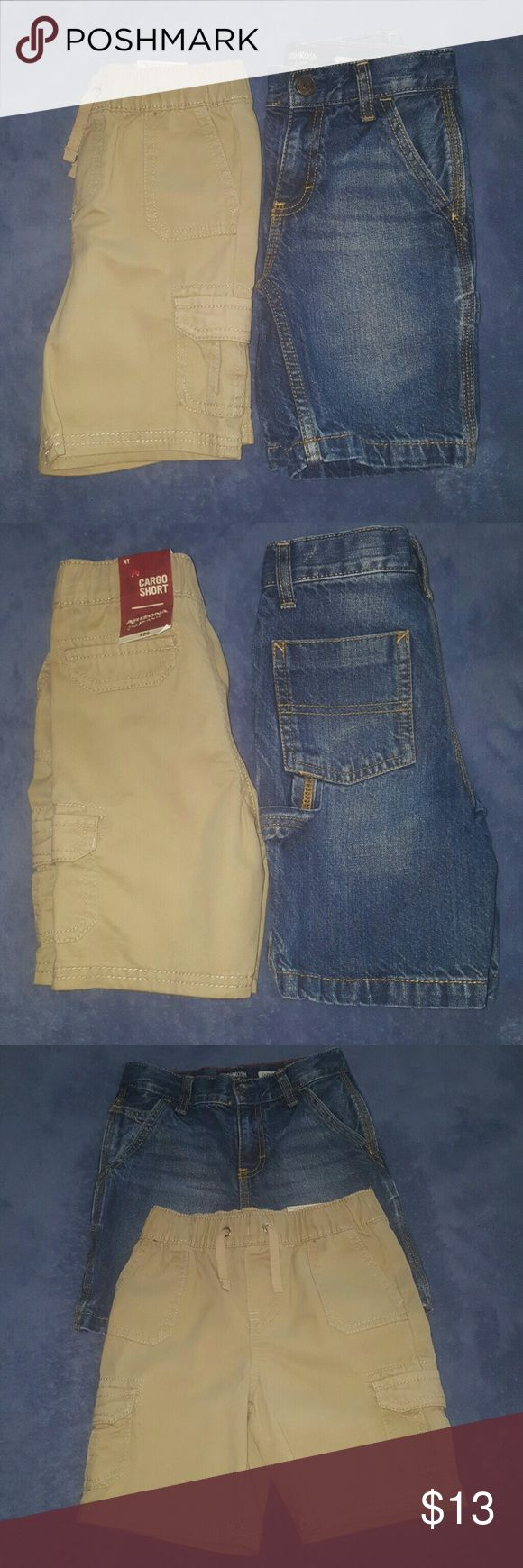 Denim & Khaki Shorts Size 4 & 5 Excellent Denim Oshkosh Carpenter shorts size 5 in Excellent condition. Adjustable waist. Dark wash color. New with tags Arizona Jeans Co.  Khaki Cargo shorts w/ elastic waist and drawstring size 4. The khakis are great for school uniforms. Really no difference in the size of the waist considering 1 pair is a size 4 & the other a size 5. Your son will be able to wear both I am sure. Oshkosh & Arizona Jeans Co Bottoms Shorts