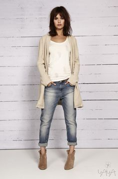 White tee, striped long beige sweater, BF jeans, booties