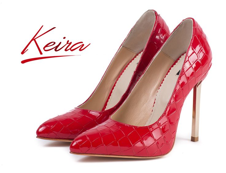 Red stilettos made from natural leather with croco effect and golden heels @joyas