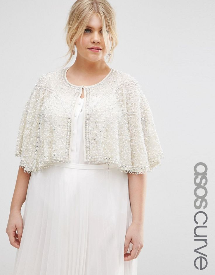 Image 1 of ASOS CURVE Occasion Cape with Pearl Beads