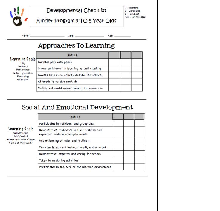 Developmental Checklist Preschool Reading Literacy