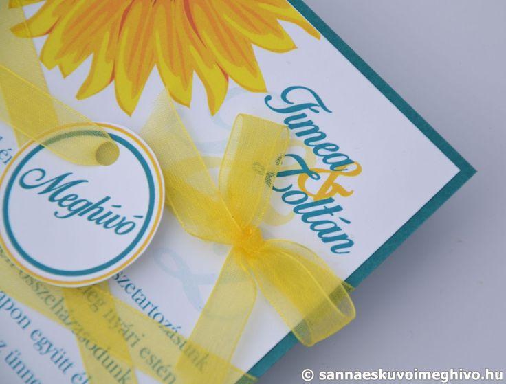 Azúrkék tenger esküvői meghívó, meghívó, kék esküvői meghívó, sárga esküvői meghívó, szalagos esküvői meghívó, sannaeskuvoimeghivo, egyedi esküvői meghívó, wedding card