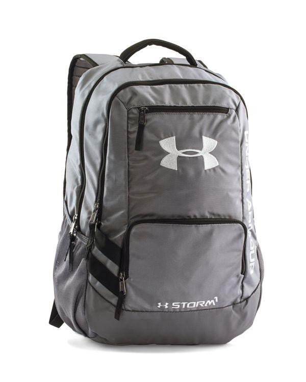 Under Armour Boys' Hustle Backpack | Polyester/nylon | Hand wash | Imported | Carry handle at top, adjustable HeatGear® shoulder straps | Zip closures, silver-tone hardware, logo details, contrast tr