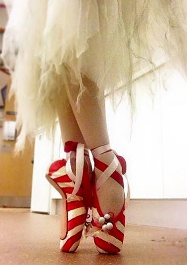 Candy cane themed pointe shoes! How fun!