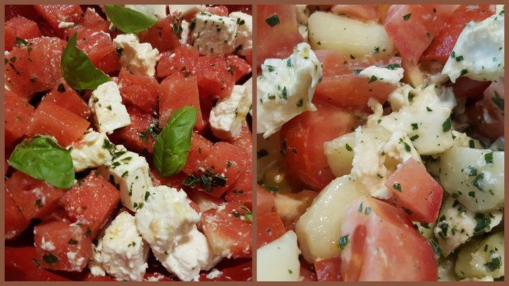 Salades d'été : Salade pêches plates tomates mozza basilic + Salade pastèque fête basilic