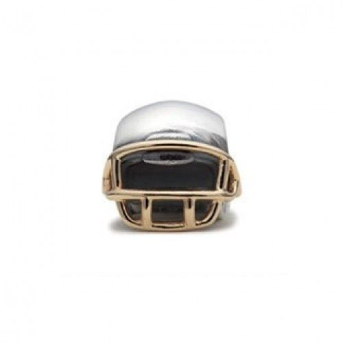 PANDORA Football Helmet in Silver and Gold Charm Clearance Sale