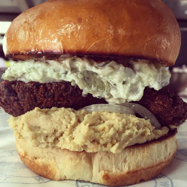 Falafel Burger with #hummus & #tzatziki"