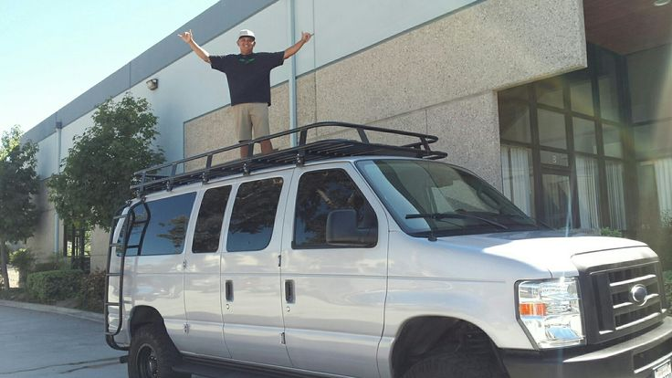 Ford van with Aluminess roof rack and ladder