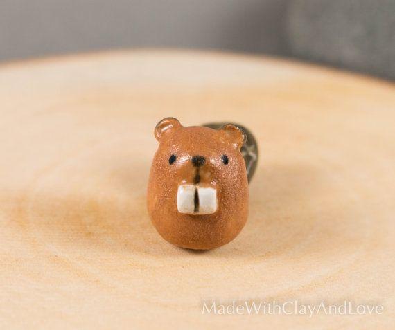 Little Beaver  Terrarium Figurine  by MadeWithClayAndLove on Etsy