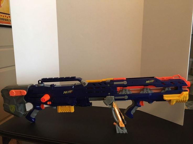 Nerf Longshot CS 6 Blue Rifle Gun Dart Gun Sniper Blaster Barrel 1 Magazine  | eBay