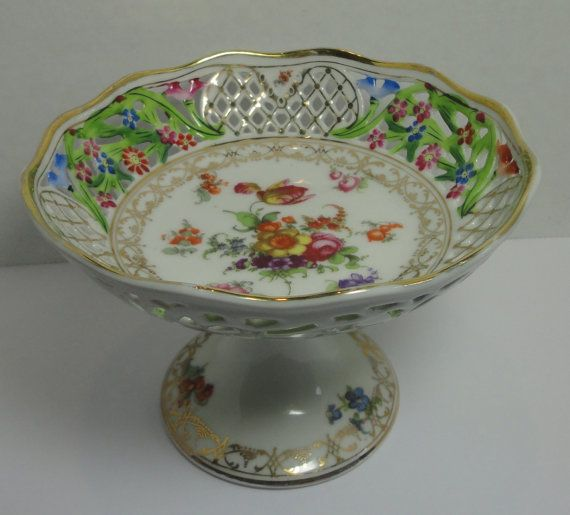 Carl Schumann Bavaria China Chateau Bouquet Pattern Pedestal Compote Reticulated Dresden