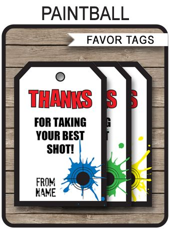 * INSTANT DOWNLOAD * Paintball Party Favor Tags template. Personalize the printable template at home for your Paintball birthday party favors. Download Now!