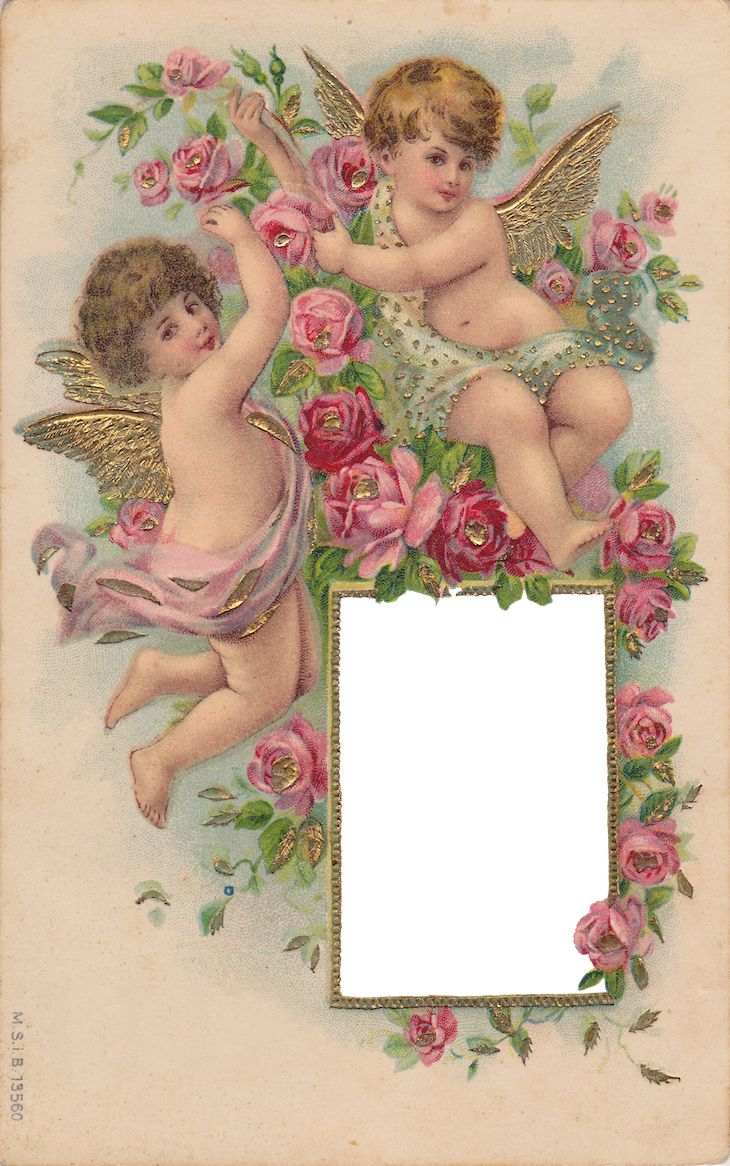 Wings of Whimsy: Cherubs & Roses Frame - PNG (transparent background) - free for personal use #vintage #ephemera #printable #freebie: