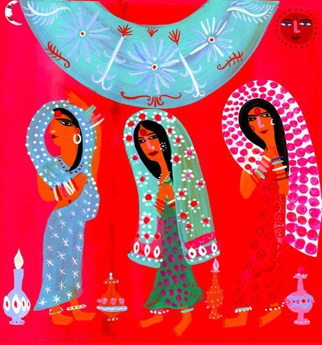 Three Indian Ladies Art Print by Christopher Corr at King & McGaw
