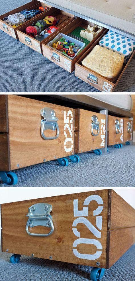 diy Rolling under-bed Storage Crates | #organization craft