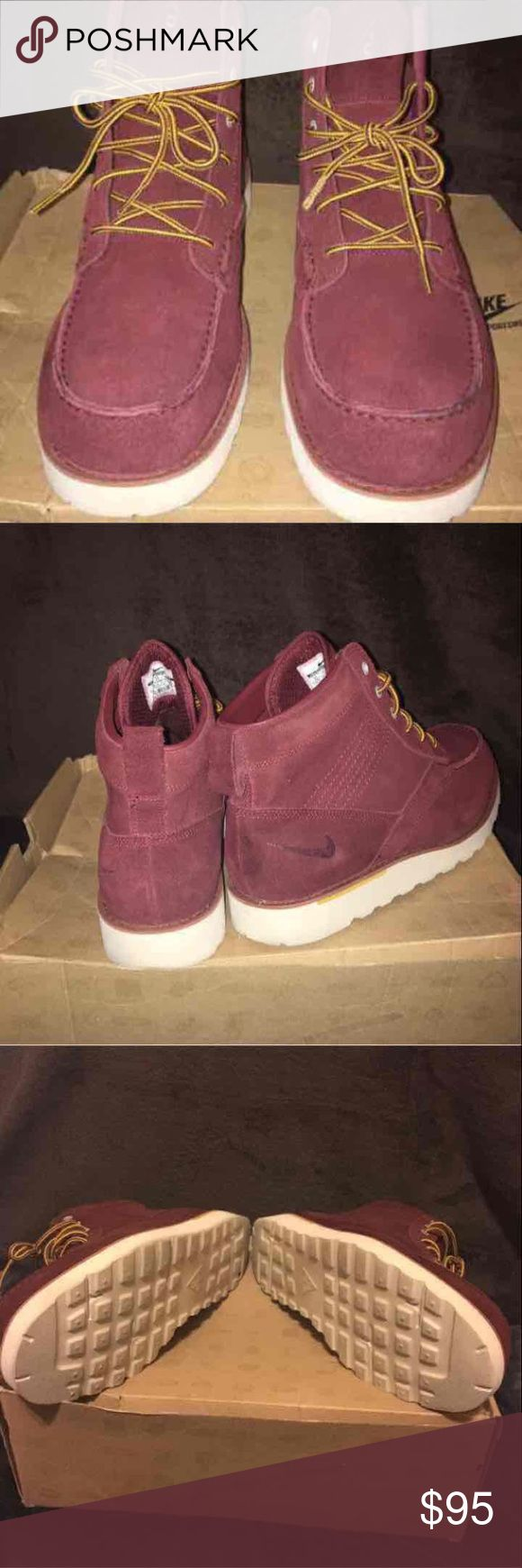Nike Leather Kingmans 100% Authentic Worn once, burgundy  Shoe and sole are in perfect shape.  1 set of laces  Damage to original boxing, but will still be included with purchase.   SERIOUS BUYERS ONLY! I WILL HOLD FOR (ONE) DAY IF NEEDED Nike Shoes Boots