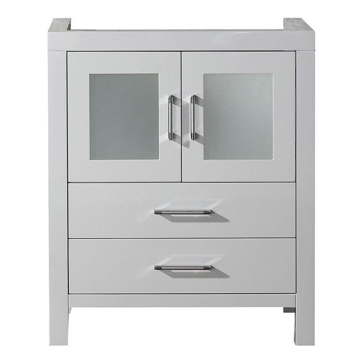 28 Inch Bathroom Vanity With Sink: Virtu USA Dior 28-inch White Single Sink Cabinet Only