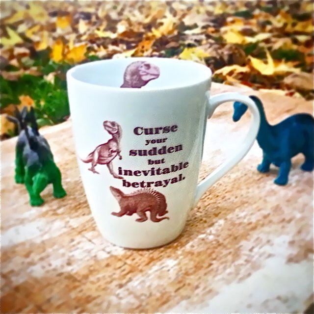 Firefly Serenity Quote Mug, Curse Your Sudden But Inevitable Betrayal, Dinosaurs, Wash Hoban Washburne, Ready to Ship by SecondChanceCeramics on Etsy https://www.etsy.com/listing/215287675/firefly-serenity-quote-mug-curse-your