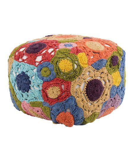 Karma Living Orange & Blue Brazil Crochet Pouf | zulily