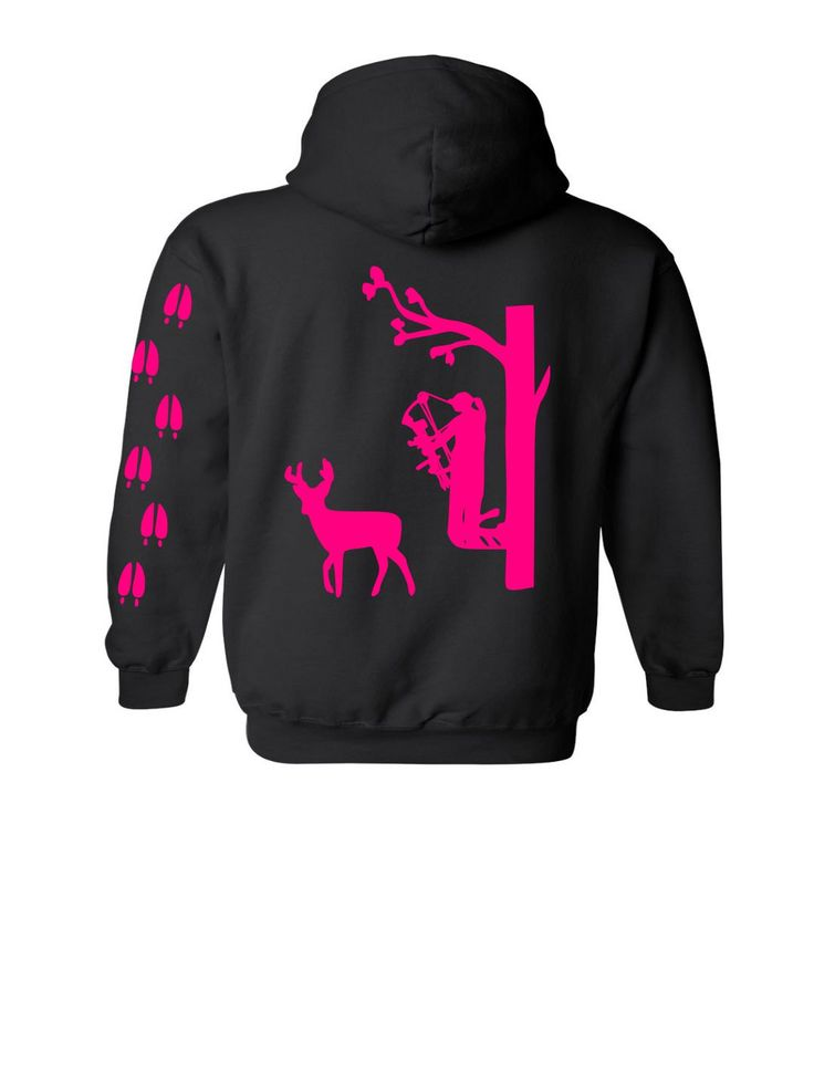 Girl Hunter, Bow Hunting, Bow Hunter, Deer Hunting, Tree Stand,, Hunting, Vinyl Graphic Hoodie with deer tracks down sleeve by CountrySweethearts on Etsy