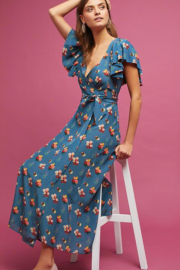 NEW Marianne Silk Wrap Dress by Carolina K Floral Bouquet Sky Sz PL PM NWT $538 #CarolinaK #WrapDress