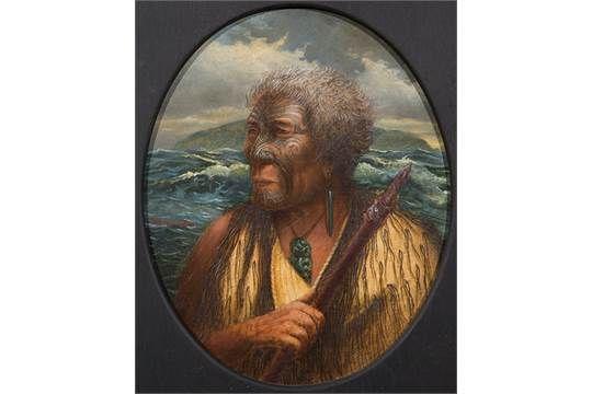 Phillip Waddington Te Rauparaha oil on board signed (centre left) 31 x 25cm, oval