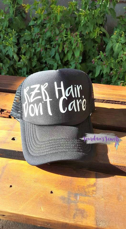 """RZR Hair, Don't Care"" trucker hat. This hat is perfect for when you're out cruising the mountain in your RZR! Perfect gift for the RZR loving girl!  Buy yours now at Jourdan's {Handmade} Jewels on Etsy. 