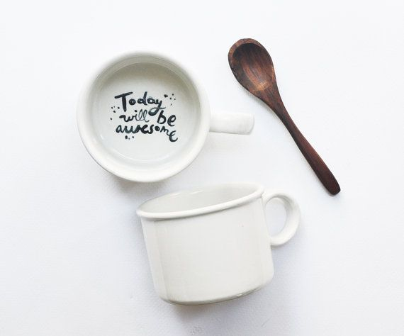 Today will be awesome! Surprise reveal hand painted tea cup op Etsy, 18,43€