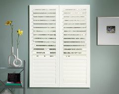 "Bali® EuroVue™ Shutters: 3 1/2"" Louvers beach-style-interior-shutters"